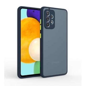 Cellect hibrid tok kemény műanyag hátlappal, kék szilikon kerettel, zöld gombokkal, Samsung Galaxy A42 SM-A426B