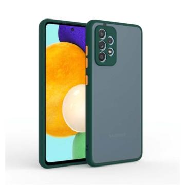 Cellect hibrid tok kemény műanyag hátlappal, zöld szilikon kerettel, narancs gombokkal, Samsung Galaxy A42 SM-A426B