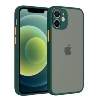 Cellect hibrid tok kemény műanyag hátlappal, zöld szilikon kerettel, narancs gombokkal, iPhone 12 mini