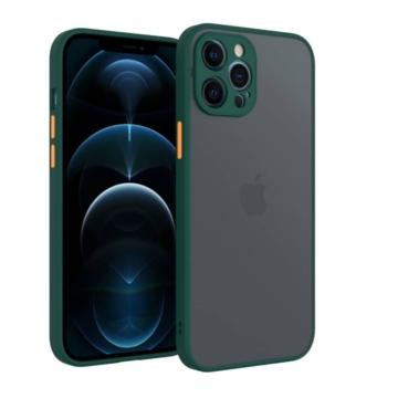 Cellect hibrid tok kemény műanyag hátlappal, zöld szilikon kerettel, narancs gombokkal, iPhone 12 Pro Max