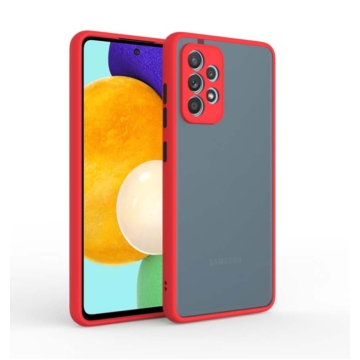 Cellect hibrid tok kemény műanyag hátlappal, piros szilikon kerettel, fekete gombokkal, Samsung Galaxy A42 SM-A426B