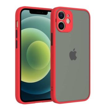 Cellect hibrid tok kemény műanyag hátlappal, piros szilikon kerettel, fekete gombokkal, iPhone 12