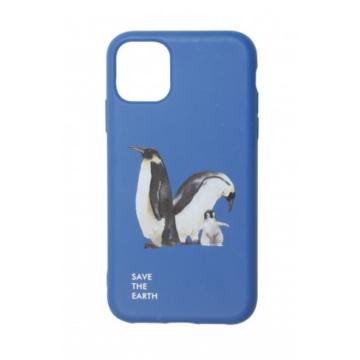 Cellect GoGreen Lebomló, Komposztálható tok, kék, pingvin Apple iPhone 11