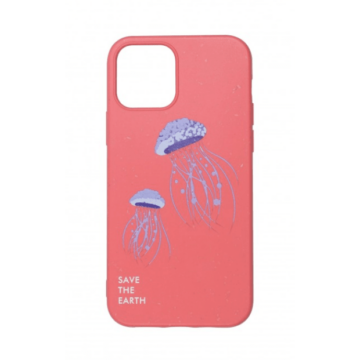 Cellect GoGreen Lebomló, Komposztálható tok, korall, medúzás Apple iPhone 12
