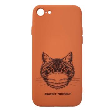 Cellect narancs maszkos macska mintájú TPU szilikon tok, iPhone 7/8/SE (2020)