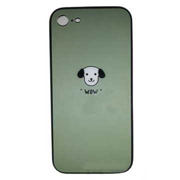 Zöld kutyás edzett üveg hátlapú szilikon tok Apple iPhone 7/8/SE 2020