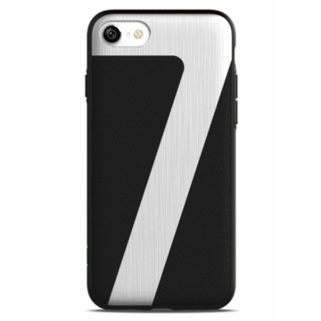 IconFlang Fekete PC Tok Bőr + Alumínium Hátlappal iPhone 7/8/SE 2020