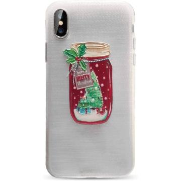Áttetsző karácsonyi üveg mintás TPU szilikon tok Apple iPhone X/Xs