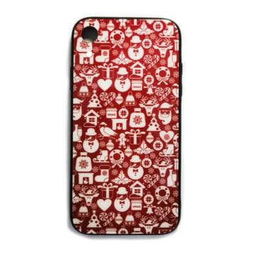 Bordó fehér karácsonyi mintás tok edzett üveg hátlappal és TPU (szilikon) kerettel Apple iPhone X/Xs