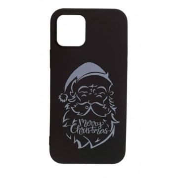Cellect Fekete Mikulásos karácsonyi mintás TPU szilikon tok Apple iPhone 7/8/SE 2020