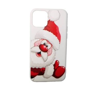 Fehér télapós karácsonyi mintás TPU szilikon tok Apple iPhone X/Xs