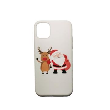 Fehér rénszarvas és télapó karácsonyi mintás TPU szilikon tok Apple iPhone X