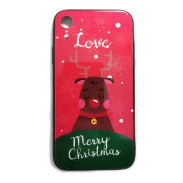 Piros rénszarvasos karácsonyi tok edzett üveg hátlappal és TPU (szilikon) kerettel Apple iPhone 7 Plus/8 Plus