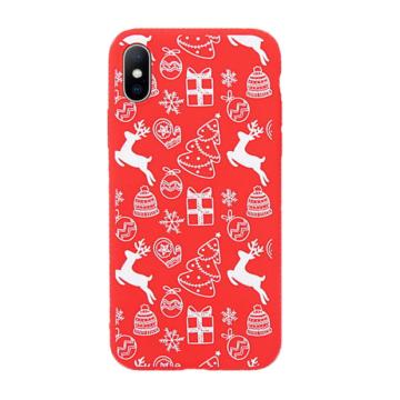 Piros fehér karácsonyi mintás TPU szilikon tok Apple iPhone X