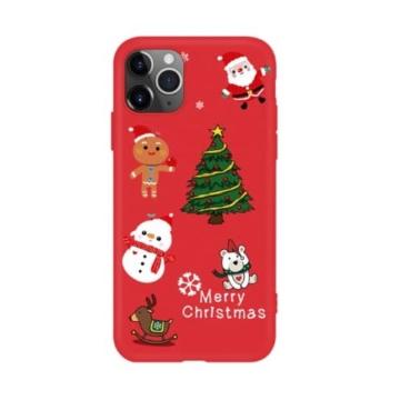 Piros karácsonyi mintás TPU szilikon tok Apple iPhone X