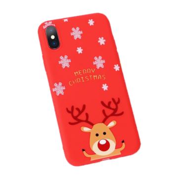 Piros rénszarvasos karácsonyi mintás TPU szilikon tok Apple iPhone Xs Max
