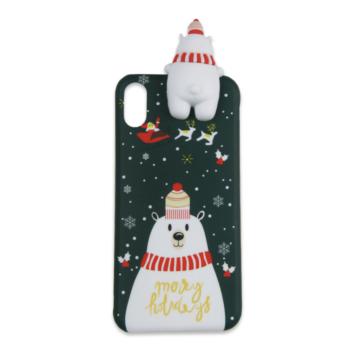 Zöld leskelődő jegesmedvés karácsonyi mintás TPU szilikon tok Apple iPhone 7 Plus/8 Plus