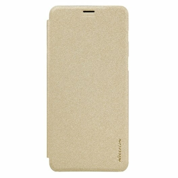 Nillkin Sparkle Oldalra nyíló Flip Arany Bőr tok, műanyag (PC) tartóval, Samsung Galaxy S9 SM-G960