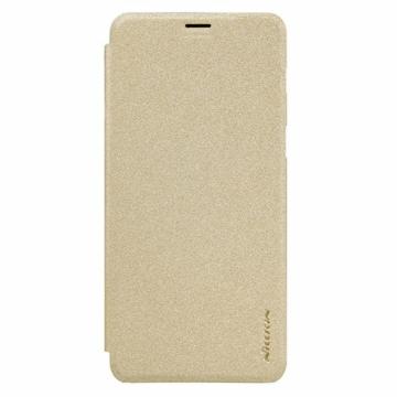 Nillkin Sparkle Oldalra nyíló Flip Arany Bőr tok, műanyag (PC) tartóval, Samsung Galaxy A6 (2018) SM-A600F