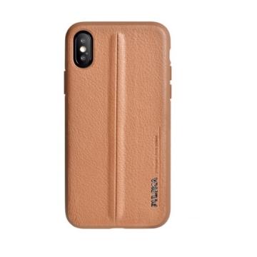 Puloka Style Barna PC (műanyag) Tok Eredeti Bőr Hátlappal iPhone 7/8/SE 2020