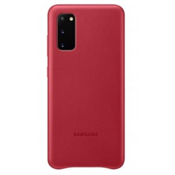 Samsung Gyári Piros PC műanyag tok bőr borítással Samsung Galaxy S20  SM-G980