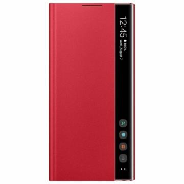Samsung Clear View Gyári flip tok áttetsző fedéllel - piros, Samsung Galaxy Note 10 SM-N971