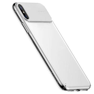 Baseus Fehér PC (műanyag) Tok Bőr Betéttel iPhone Xs MAX