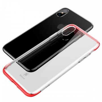 Baseus Armor Ütésálló Áttetsző szilikon TPU tok, piros kerettel iPhone X/Xs