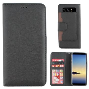 Colorfone, fekete/barna oldalra nyíló flip tok - Samsung Galaxy Note 8 SM-N950