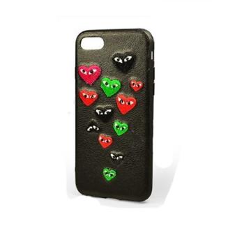 Hímzett Szív mintás Fekete PC (műanyag) Tok Bőr Hátlappal iPhone 7/8/SE 2020