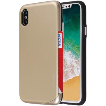 Hana Wing Bumper Kártyatartó arany tok műanyag hátlappal és szilikon kerettel Samsung Galaxy S9 Plus SM-G965