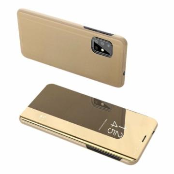 Arany színű Clear View flip tok áttetsző fedéllel, Samsung Galaxy A71 SM-A715F