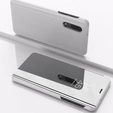 Ezüst színű Clear View flip tok áttetsző fedéllel, Samsung Galaxy A51, SM-A515F