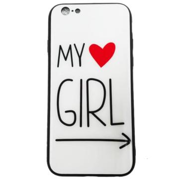 Fehér My Girl Mintás Gorilla Glass Üveg hátlapú TPU szilikon tok Apple iPhone Xr