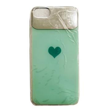 Zöld szív mintás PC (műanyag) tok szilikon kerettel, iPhone 7/8/SE 2020