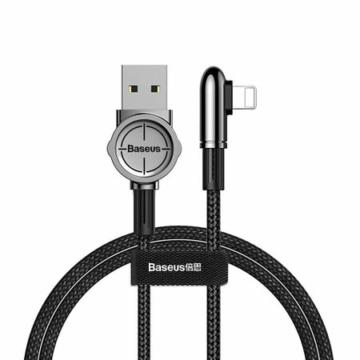 Baseus Lightning kábel, Exciting Mobile Game, lekerekített L-alakú csatlakozó, 1.5A, 2m, fekete