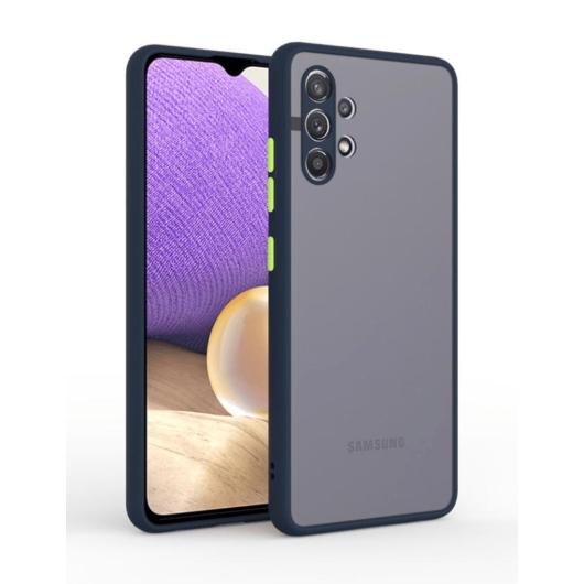 Cellect hibrid tok kemény műanyag hátlappal, kék szilikon kerettel, zöld gombokkal, Samsung Galaxy A32 5G SM-A326B