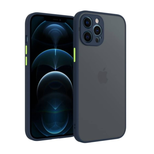 Cellect hibrid tok kemény műanyag hátlappal, kék szilikon kerettel, zöld gombokkal, iPhone 12 Pro Max