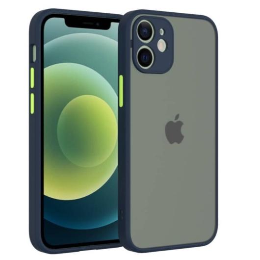 Cellect hibrid tok kemény műanyag hátlappal, kék szilikon kerettel, zöld gombokkal, iPhone 12
