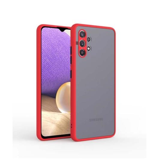 Cellect hibrid tok kemény műanyag hátlappal, piros szilikon kerettel, fekete gombokkal, Samsung Galaxy A32 5G SM-A326B