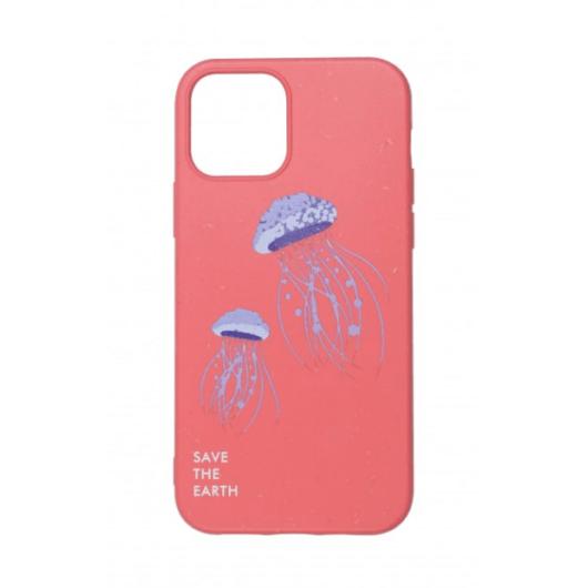 Cellect GoGreen Lebomló, Komposztálható tok, korall, medúzás Apple iPhone 12 Pro