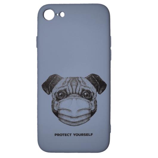 Cellect világos kék maszkos kutya mintájú TPU szilikon tok, iPhone 7/8/SE (2020)