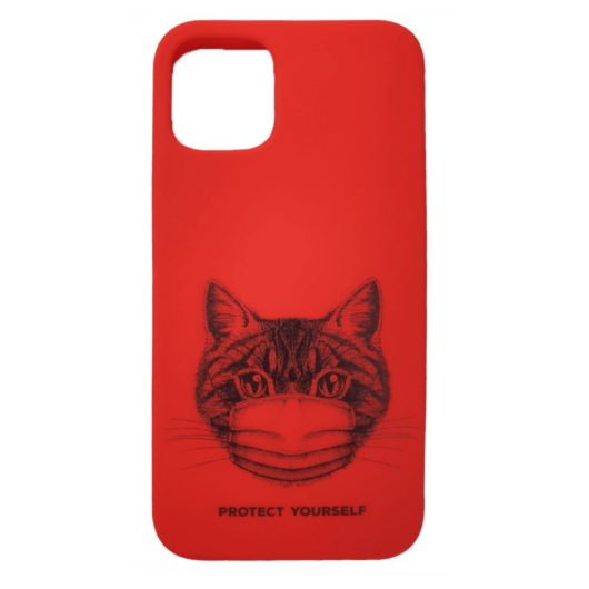 Cellect piros maszkos macska mintájú TPU szilikon tok, iPhone 12/12 Pro