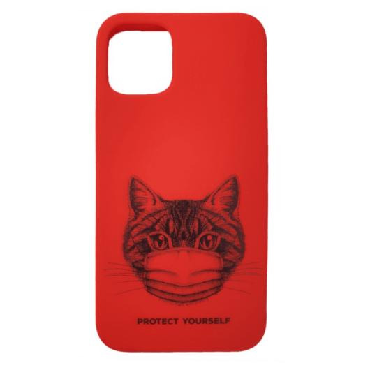 Cellect piros maszkos macska mintájú TPU szilikon tok, Samsung Galaxy A32 5G SM-A326B