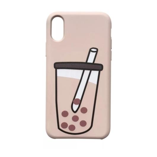 Cellect Pink Bubble Tea Mintás TPU Szilikon Tok Apple iPhone X/Xs