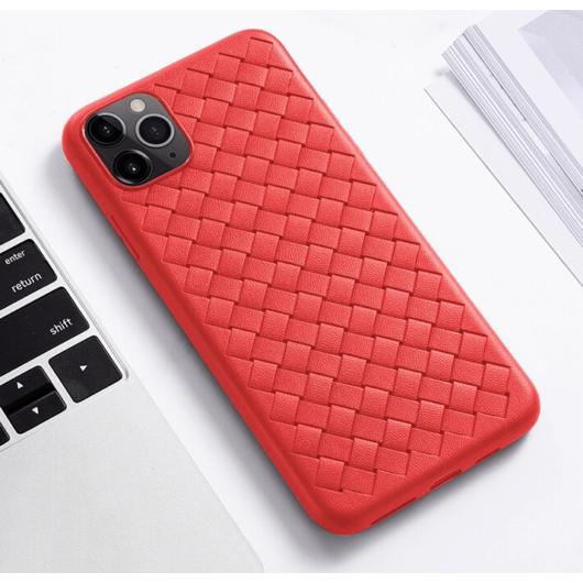 Piros bőr hatású fonott, szellőző szilikon tok, iPhone X/Xs