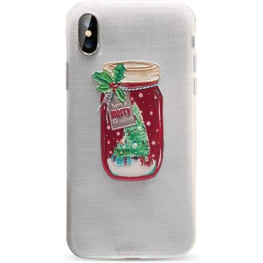 Áttetsző karácsonyi üveg mintás TPU szilikon tok Apple iPhone X