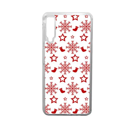 Fehér piros mintás karácsonyi műanyag tok átlátszó kerettel Huawei Mate 20