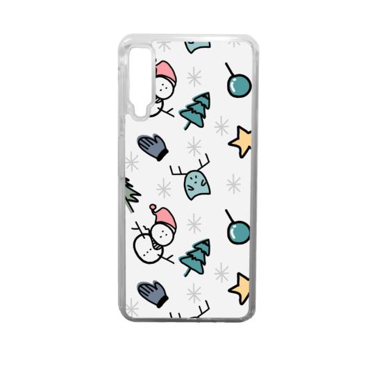 Fehér rajzolt mintás karácsonyi szilikon tok átlátszó kerettel Huawei Mate 20