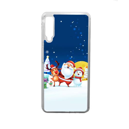 Kék Mikulásos karácsonyi szilikon tok átlátszó kerettel Huawei Mate 20